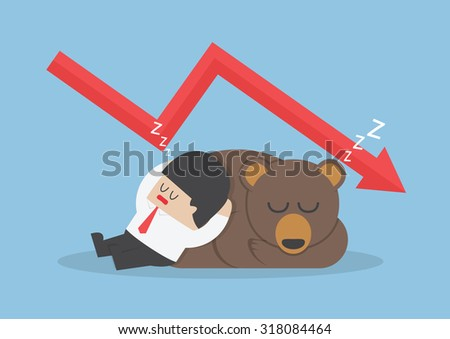Businessman sleeping with bear with down trend graph, VECTOR, EPS10 - stock vector