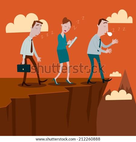 Businessman sleepwalking off a cliff. - stock vector