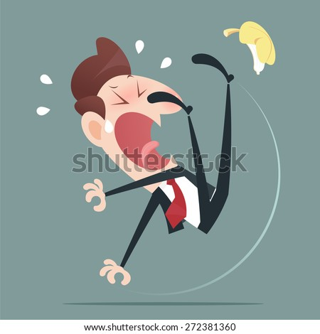 Businessman slipping and falling from a banana peel - stock vector