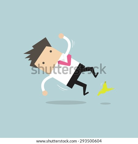 Businessman slipping on a banana peel and falling down - stock vector
