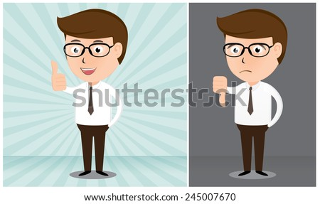 Businessman smiling and giving the thumbs up and thumbs down cartoon vector illustration - stock vector