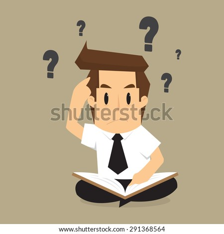 businessman solving, find information from books to the problem. vector - stock vector