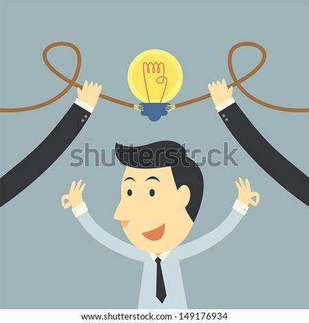 Businessman spark idea up - stock vector