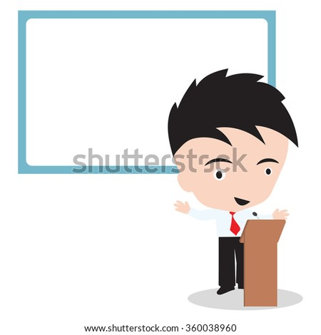 Businessman speaker standing and speaking and whiteboard behind, vector illustration on white background - stock vector