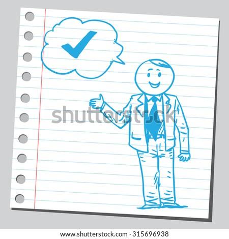 Businessman speaking check mark - stock vector