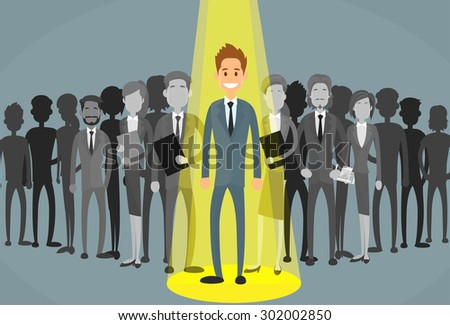 Businessman Spotlight Human Resource Recruitment Candidate, Business People Hire Concept Flat Vector Illustration - stock vector