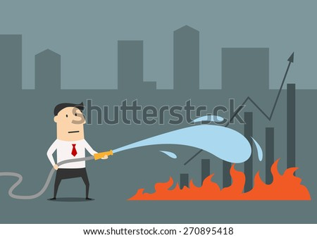 Businessman spraying a water hose on fire flames for saving financial graphs, cartoon style, suited for economical crisis or recession business concept design - stock vector