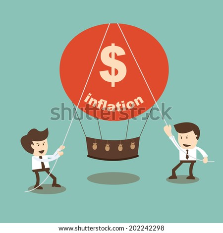 Businessman stabilize inflation - stock vector