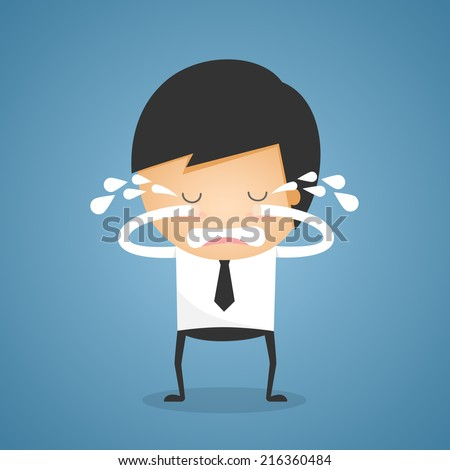 Businessman stand crying - stock vector