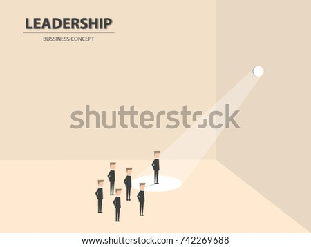 Businessman stand in spotlight, business concept of leadership, talent, outstanding, creative and power to lead the team become successful.