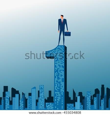 Businessman stand on top of building. City skyline. Success concept. Cartoon Vector Illustration. - stock vector