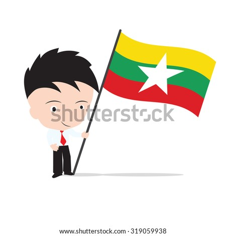 Businessman standing and, holding flag of Myanmar concept isolated on white background - stock vector