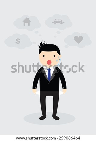 Businessman standing and showing his empty pocket. No budget. Business concept. No money. Think home, car, love and money - stock vector