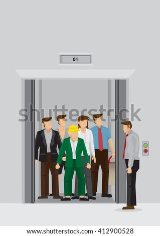 Businessman standing beside elevator full of people inside. Vector cartoon illustration of daily peak hour morning crowd at office elevator lobby isolated on grey background. - stock vector