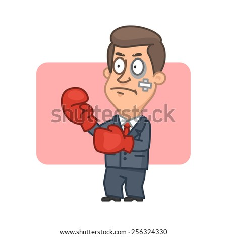 Businessman standing fighter in boxing gloves - stock vector