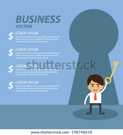 Businessman standing in front of keyhole - stock vector