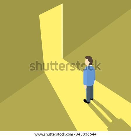 businessman standing in front of the door. - stock vector