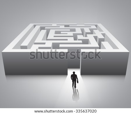 Businessman standing in front of the entrance to the maze. Vector illustration - stock vector