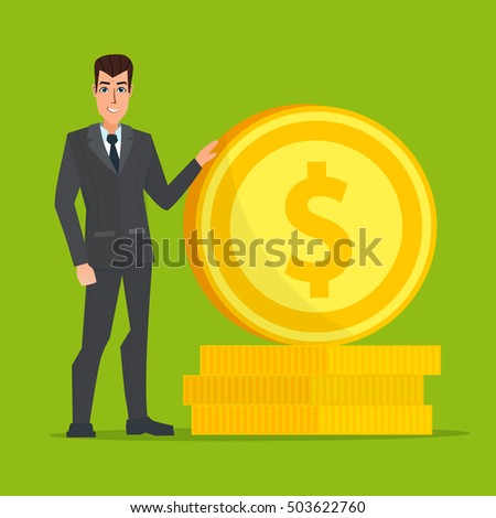 businessman standing near a huge gold coin. Vector creative color illustrations flat design in flat modern style.