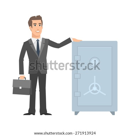 Businessman standing near safe and smiling - stock vector