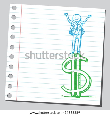 Businessman standing on dollar sign - stock vector