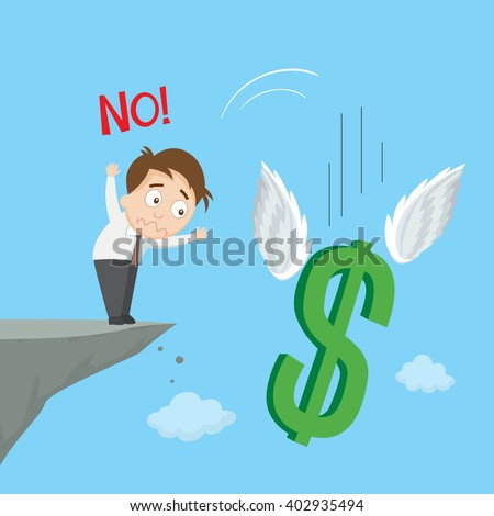 Businessman standing on edge of cliff and throw down money symbol, vector  illustration - stock vector