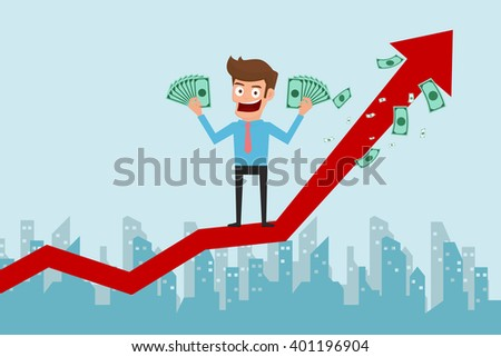 Businessman standing on growth graph and holding money. Success concept. Cartoon Vector Illustration.