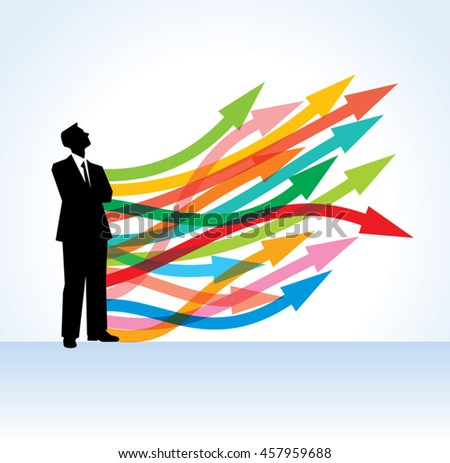businessman standing on the rising arrow