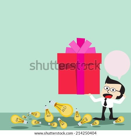 Businessman standing on the top of a high Get a gift, vector format  - stock vector