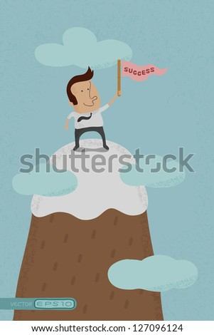 Businessman standing on the top of a high mountain  , eps10 vector format - stock vector
