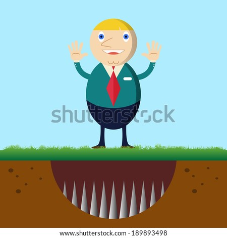 Businessman standing on the trap - stock vector