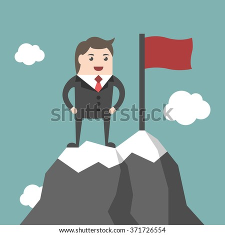 Businessman standing on top of mountain peak with red flag. High ice summit. Business success, leadership, leader, executive, management concept. EPS 8 vector illustration, no transparency