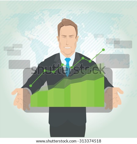 Businessman standing posture hand holding green graph finance. vector illustration - stock vector