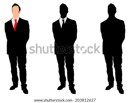 Businessman standing straight and holding his hands behind his back, vector