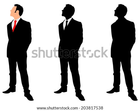 Businessman standing straight and holding his hands behind his back, vector - stock vector