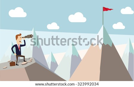 Businessman standing using telescope to see mountain peak. Growing business concept.  - stock vector