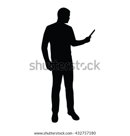 Businessman stands and reads news on tablet or mobile phone. Man with smart phone vector silhouette - stock vector