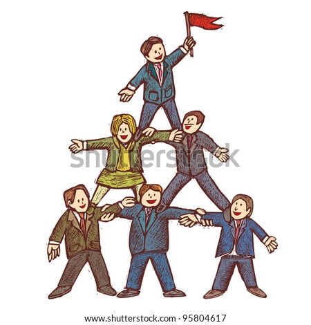 Businessman stay together as a team in a pyramid shape