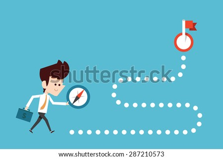 Businessman stepping onto compass