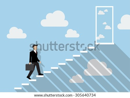 Businessman stepping up a staircase to the real sky. Business Concept