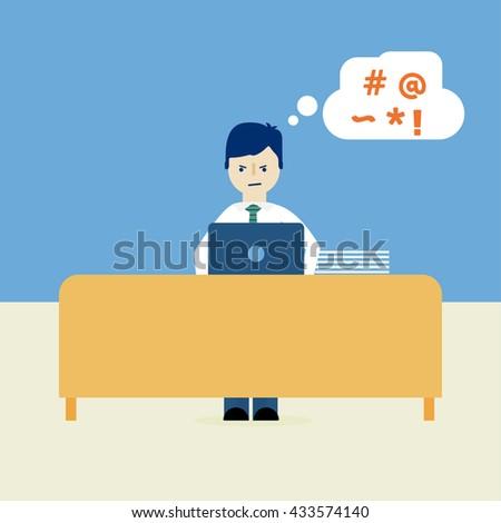 Businessman stress at work. - stock vector