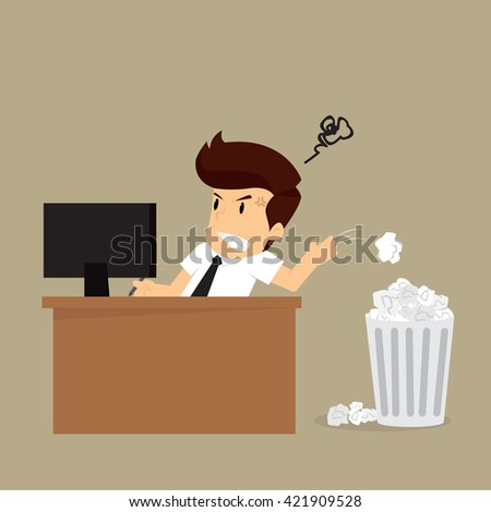 businessman stressed because of failed tasks. vector - stock vector
