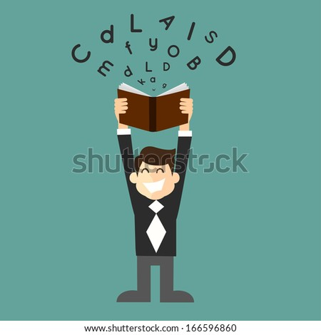 businessman student with a book in hand - stock vector