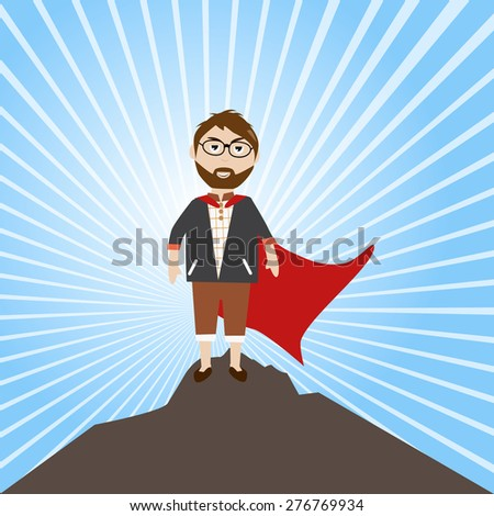 Businessman success the target feel he like a hero - stock vector