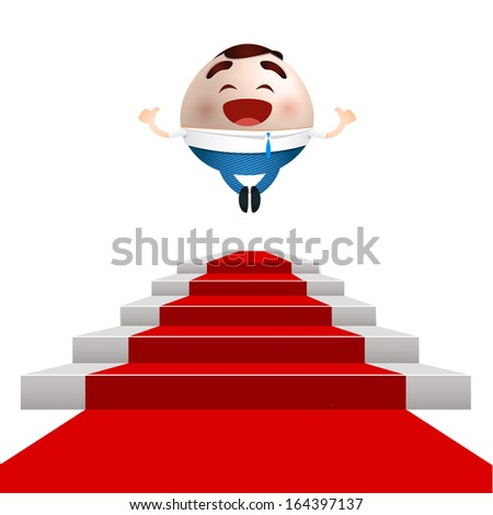 businessman successful cartoon jumping on a red carpet podium