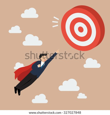 Businessman Super Hero Fly to Big Target. Business concept