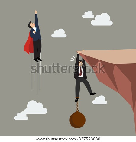 Businessman superhero fly pass businessman hold on the cliff with burden. Business concept - stock vector