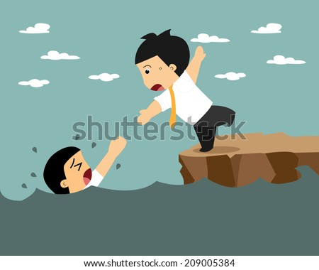Businessman support and helping. Businessman drowning from survive - stock vector