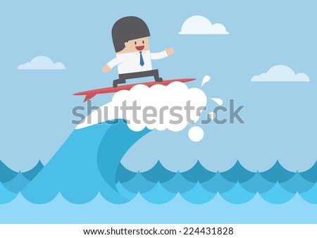 Businessman surfing on wave, Business concept, VECTOR, EPS10 - stock vector