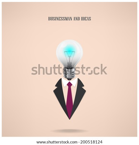 businessman symbol with creative light bulb sign ,design for poster flyer cover brochure,education concept ,business idea .vector illustration - stock vector
